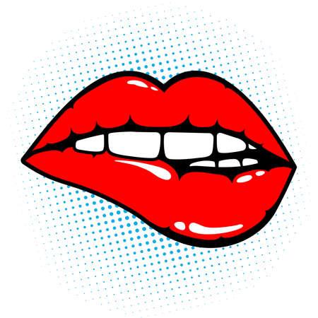 Donna labbra rosse che mordono.