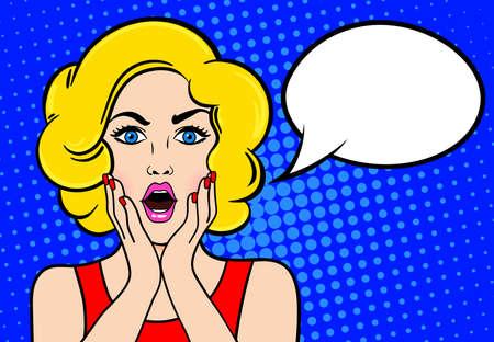 textspace: Surprised blond woman speech bubble.
