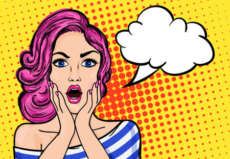 textspace: Pop art surprised woman with open mouth on a yellow vintage background. Vector illustration with bubble for text