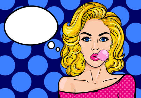 textspace: Blonde woman with speech bubble.