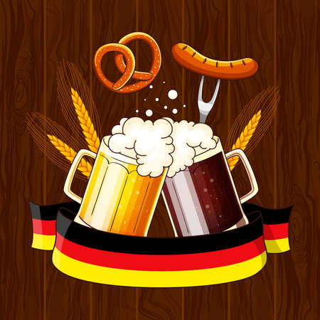 Two mugs with a light and dark beer. Illustration