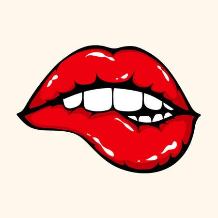 彼女の唇をかむ女性のイラスト。