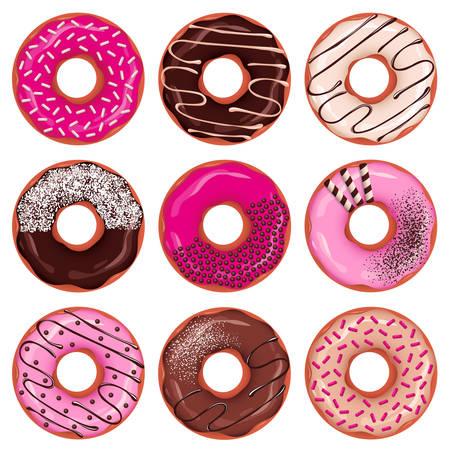 Deliciouis donuts set.