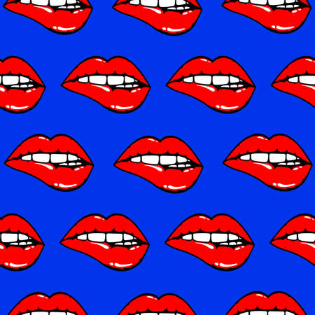 Pattern of woman red lips biting.