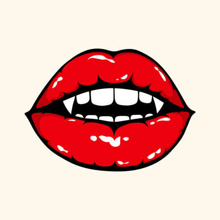 Vampire woman open mouth with shiny red lips. Illustration