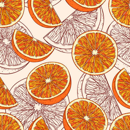 Repetitive, borderless pattern with orange fruits on light background.
