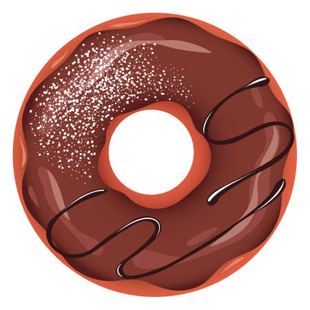 Donut with chocolate glaze, sauce and sprinkles in cartoon clip art illustration.