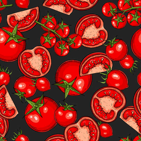 Hand drawn pattern with tomatoes, slices, halves and cherry tomatoes.