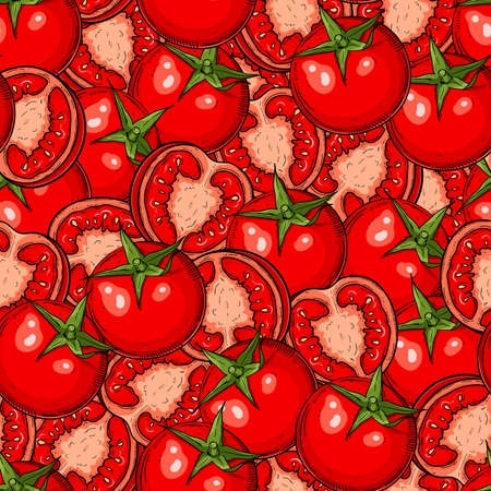 A Seamless hand drawn pattern with tomatoes and halves. Natural background for textiles, banner, wrapping paper and other and designs. Vector illustration