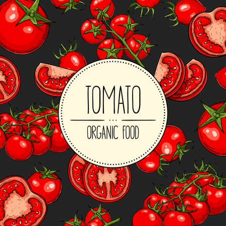 Vector hand-drawn banner with with tomatoes, slices, halves and cherry tomatoes. Vector illustration for shop, book, emblem, menu, label.
