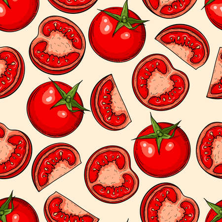 Seamless hand drawn pattern with tomatoes and halves. Vegetable background for textiles, banner, wrapping paper and other and designs. Vector illustration