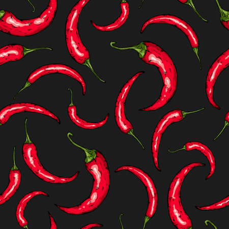 Seamless hand drawn pattern with hot chili pepper. Natural background for textiles, banner, wrapping paper and other and designs. Vector illustration.