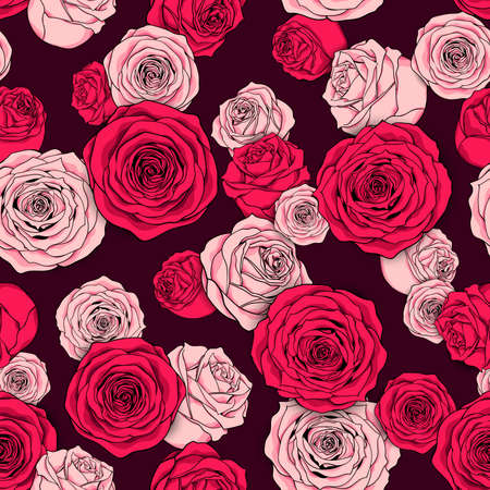 Seamless floral pattern of pink rose buds. Natural background for textiles, banner, wrapping paper and other designs. Vector illustration