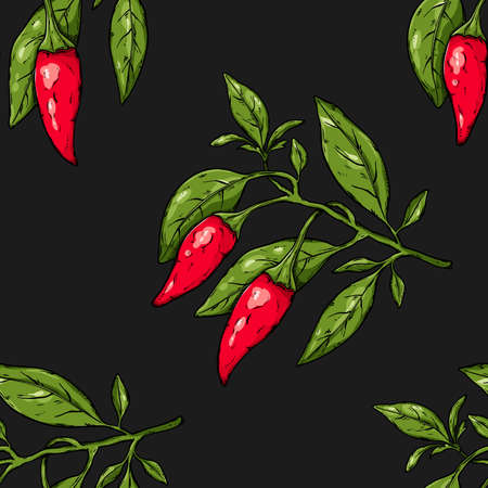Seamless vegetables hand drawn pattern with branch of mexican hot chili peppers. Natural background for textiles, banner, wrapping paper and other and designs. Vector illustration
