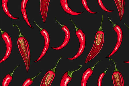 Seamless hand drawn pattern with mexican hot pepper chili and halves arranged in rows. Natural background for textiles, banner, wrapping paper and other and designs. Vector illustration.