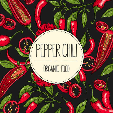 Vector hand-drawn banner with mexican hot pepper chili, slices, halves, crushed pieces and branch of peppers. Vector illustration for shop, book, emblem, menu, label.