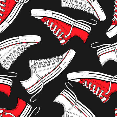 Seamless hand-drawn pattern with red and white low sneakers. Shoes background for textiles, banner, wrapping paper and other and designs. Vector illustration