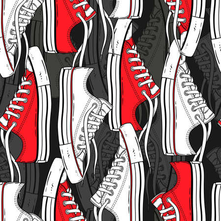 Seamless hand-drawn pattern of red and white sneakers. Shoes background for textiles, banner, wrapping paper and other and designs. Vector illustration