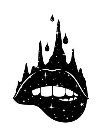 Abstract fantasy hand-drawn woman biting sexy lips. Vector illustration for t-shirt, tattoo, postcard.  イラスト・ベクター素材
