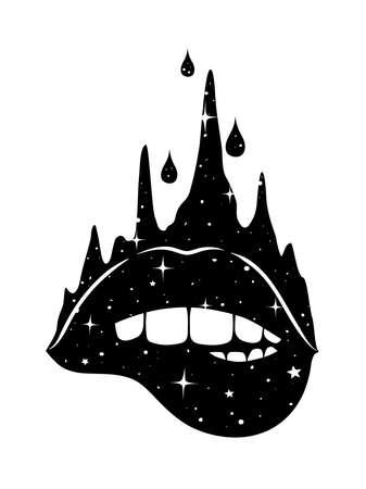 Abstract fantasy hand-drawn woman biting lips. Vector illustration for t-shirt, tattoo, postcard.