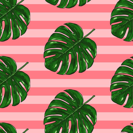 Tropical summer seamless pattern with monstera leaves on pink stripped background. Natural exotic botanical background for textiles, banner, wrapping paper and other and designs. Vector illustration