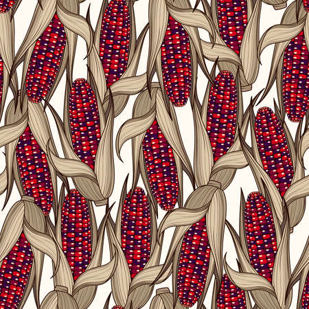 Pattern of hand drawn indian corn cobs on a light background. Vector background of vegetables Stok Fotoğraf - 112056215