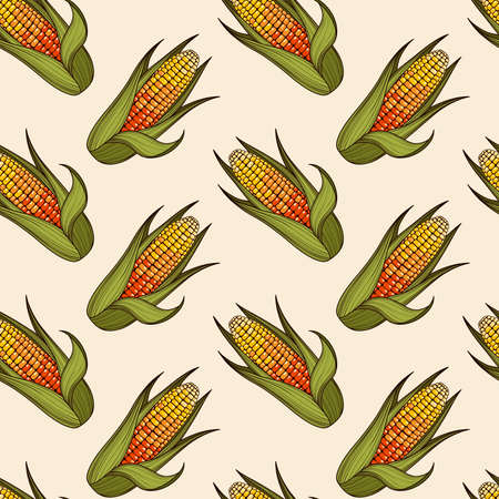 Hand drawn corn cob seamless pattern. Organic food background. Vector illustration Stok Fotoğraf - 112056216
