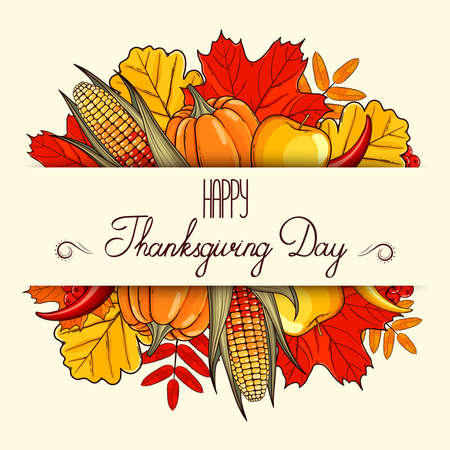 Hand drawn banner Thanksgiving Day. Corn, pumpkin, apple, chilli, ear, cranberries, autumn maple and oak leaves. Vector illustration with lettering. Eps 10