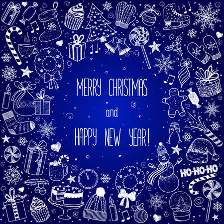 Christmas and New Year - sketch doodle set. Various hand-drawn items arranged as frame on a blue background. Vector illustration with lettering