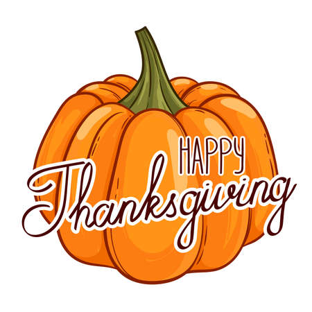 Hand drawn card Happy Thanksgiving pumpkin. Vector illustration with lettering. Eps 10