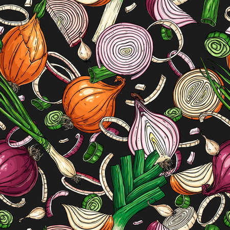 Vector hand-drawn seamless pattern with onion bulb, slices, halves, pieces, green onion and leek. Natural vegetables background for textiles, banner, wrapping paper and other and designs. Vector illustration.