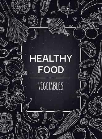 Vector hand drawn vertical background with vegetables - tomato, pepper, onion. Healthy food sketch illustration in chalkboard style. Design for shop, book, menu, poster, banner.