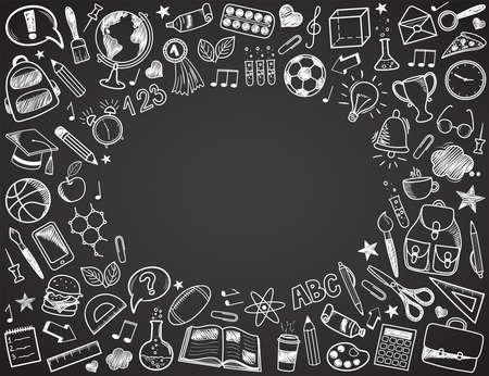 Regreso a la escuela - conjunto de bosquejo del doodle. Varios artículos escolares dibujados a mano dispuestos como marco en una pizarra gris oscuro. Ilustración vectorial