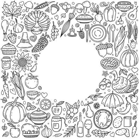 Hand drawn vector doodle set of Thanksgiving. Various symbols and objects arranged as frame. Holiday ink style illustration for postcard, banner, greeting card, poster. Vector coloring illustration.  イラスト・ベクター素材