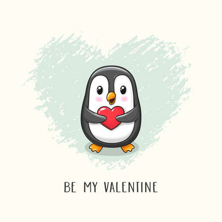 Cute cartoon character penguin with heart in paws. Vector hand drawn illustration of Valentine's Day and Love for postcard, banner, greeting card, poster and etc.  イラスト・ベクター素材