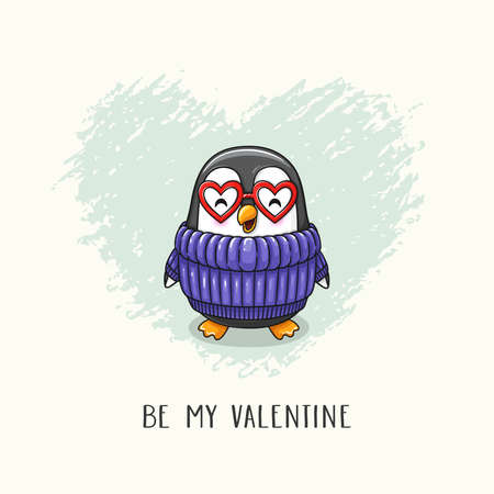 Cute cartoon character penguin in sweater and glasses hearts. Vector hand drawn illustration of Valentine's Day and Love for postcard, banner, greeting card, poster and etc. Stok Fotoğraf - 134525369