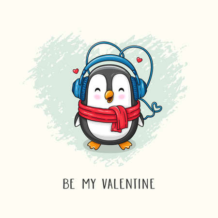 Cute cartoon character penguin with scarf and headphones. Vector hand drawn illustration of Valentine's Day and Love for postcard, banner, greeting card, poster and etc.