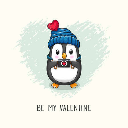 Cute cartoon character penguin in knitted hat with camera in paws. Vector hand drawn illustration of Valentine's Day and Love for postcard, banner, greeting card, poster and etc.  イラスト・ベクター素材