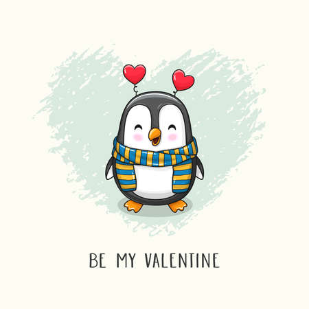 Cute funny cartoon character penguin with scarf and headhoop with hearts.Vector hand drawn illustration of Valentine's Day and Love for postcard, banner, greeting card, poster and etc.