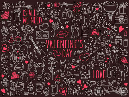 Hand drawn vector doodle set of Valentine's Day and Love. Ink style sketch illustration for postcard, banner, greeting card, poster and etc.