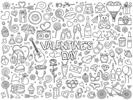 Cartoon hand drawn vector doodle set of Valentine's Day and Love. Ink style sketch illustration for postcard, banner, greeting card, poster and etc. Vector coloring illustration.  イラスト・ベクター素材