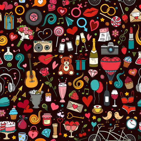 Colorful hand drawn vector doodle seamless pattern of Valentine's Day and Love. Cartoon sketch background for textiles, banner, wrapping paper and other designs. Stok Fotoğraf - 138645930