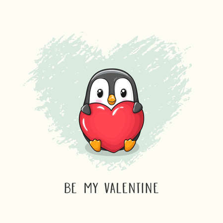 Cute cartoon character penguin with big heart. Vector hand drawn illustration of Valentine's Day and Love for postcard, banner, greeting card, poster and etc.
