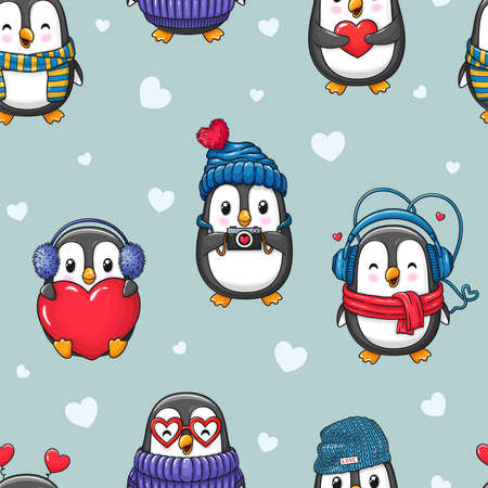Cute cartoon penguins seamless pattern of Valentine's Day and Love. Character background for textiles, banner, wrapping paper and other designs. Stok Fotoğraf - 138389820