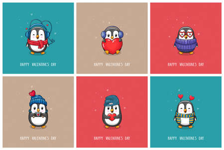 Set of greeting cards Valentine's Day and Love with cute cartoon character penguins. Vector hand drawn illustration.