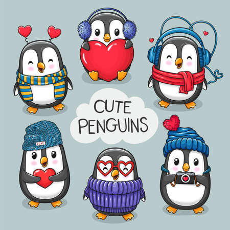 Cute cartoon character penguins set of Valentine's Day and Love. Vector hand drawn illustration for postcard, banner, greeting card, poster and etc.  イラスト・ベクター素材