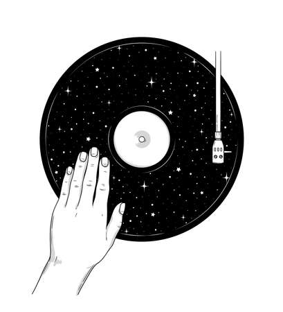 Cosmic fantasy hand drawn line art with abstract vinyl record and human hand. Space vector illustration for t-shirt, coloring book, tattoo, postcard.