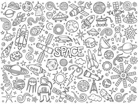 Cartoon hand drawn vector doodle set of Space symbols and objects. Ink style sketch illustration for postcard, banner, poster and etc. Vector coloring illustration.