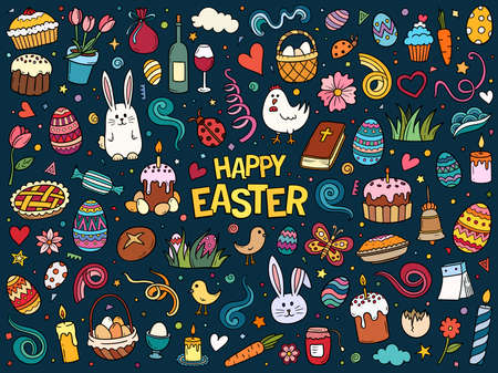 Colorful hand drawn vector doodle set of traditional Easter items. Cartoon sketch illustration for postcard, banner, greeting card, poster and etc.