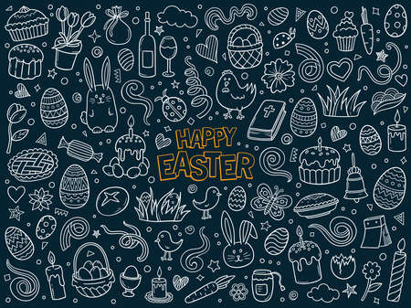 Cartoon hand drawn vector doodle set of traditional Easter items on dark blue background. Sketch illustration for postcard, banner, greeting card, poster and etc.